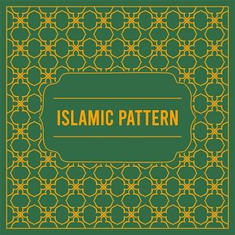 アラビアの幾何学模様のイスラムカードと緑の背景