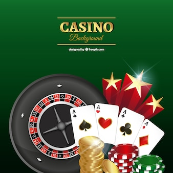 Green background with casino elements