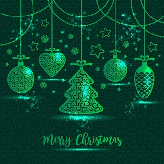 Green background with christmas ornaments