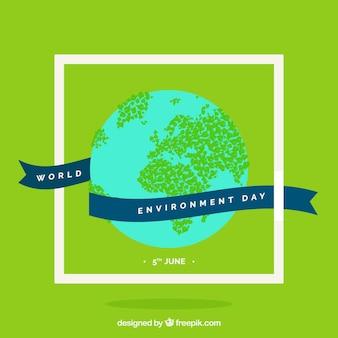 地球環境の日のための地球とリボンと緑色の背景