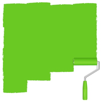 Green background with paint roller