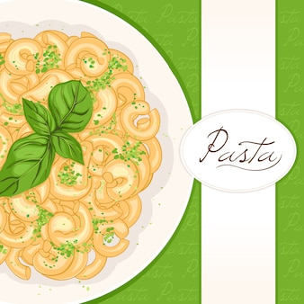 Green background with pasta