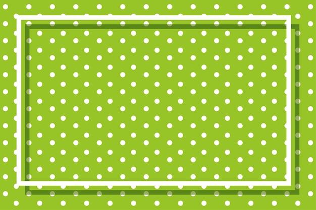 水玉模様とフレームと緑の背景