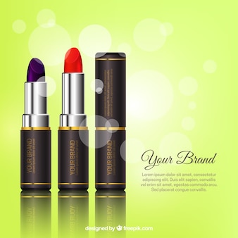 Green background with realistic lipstick