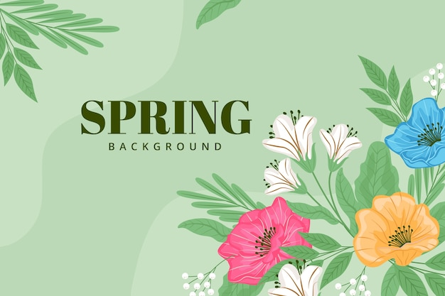 Green background with spring flowers