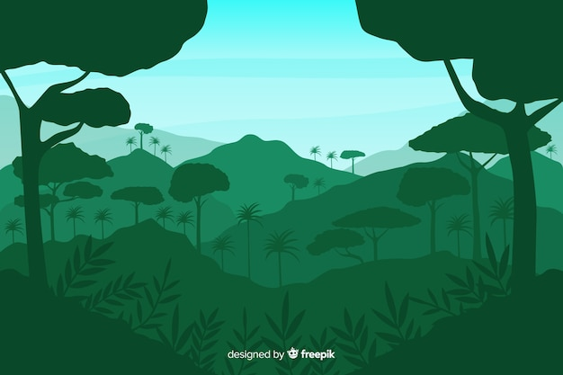 Green background with tropical forest silhouettes