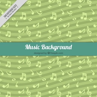 Green background with wavy lines and musical notes