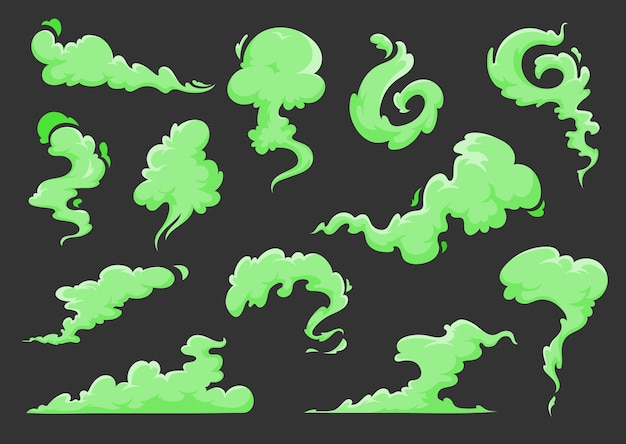 Green bad smell cartoon clouds of stink