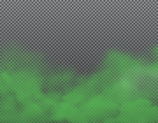 Green bad smell, stench and stink smoke on transparent background Premium Vector