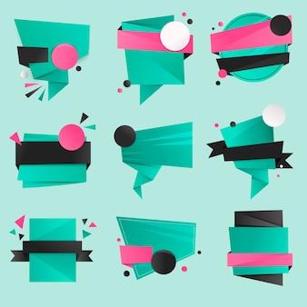 녹색 배지 스티커, 빈 벡터 클립 아트 디자인 공간 세트