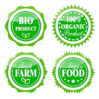 Green badges for bio, farm and organic food