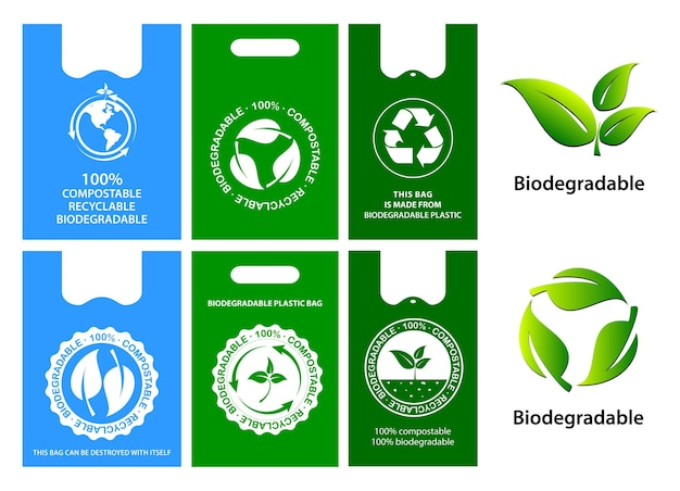 Green bag concept or biodegradable plastic reuse reduce and recyclable concept eps vector
