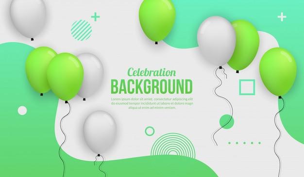 誕生日パーティー、卒業、お祝いイベント、休日の緑の風船お祝い背景