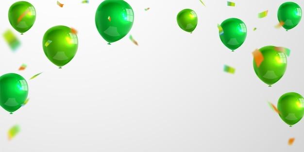 녹색 풍선 명성 컨셉 디자인 템플릿 휴일 해피 데이