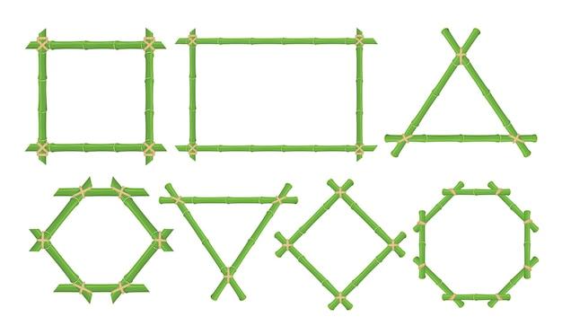 Набор зеленых бамбуковых рамок плоских иллюстраций. ветвь и стебель тропического бамбука