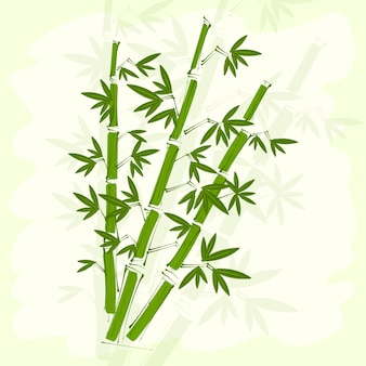Green bamboo on handmade rice paper background.