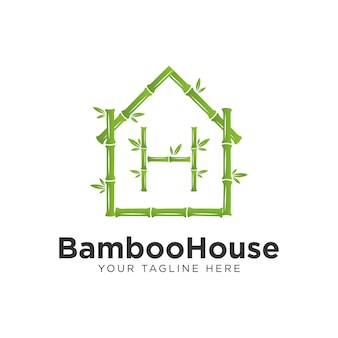 Green bamboo house logo design, with the letter h bamboo