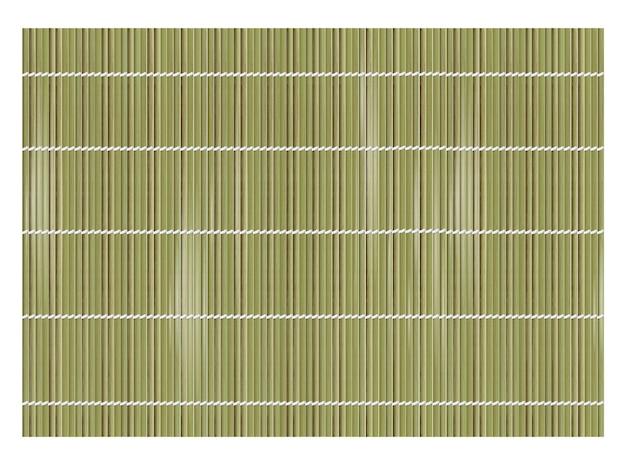 寿司を作るための緑の竹マットの背景。上面図。リアルな風合いの巻き簾やカーテン。