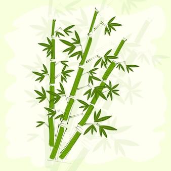 손수 만든 쌀 종이 배경에 녹색 대나무입니다.