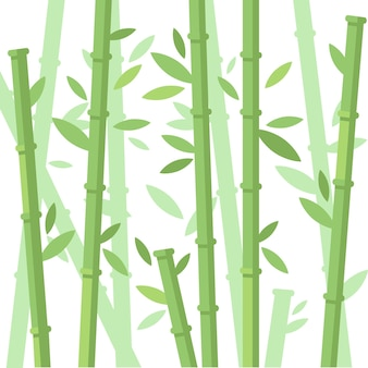 Green bamboo trees bamboo stems with leaves on white background flat vector illustration