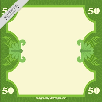 Green banknote background in flat design