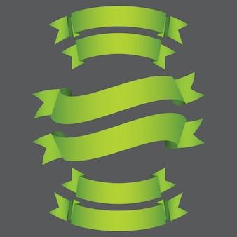녹색 배너 리본 격리 된 배경 설정