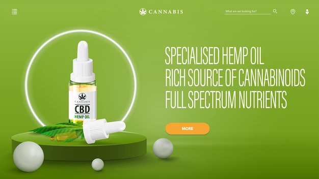 Green banner for website with cbd oil on podium with neon white ring around and interface elements of website.  cbd oil bottle with pipette and marijuana leaves