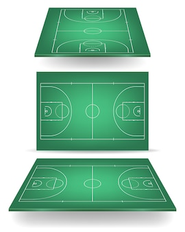 Green basketball court with perspective.