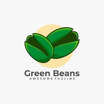 녹색 콩 로고 디자인 일러스트 레이션