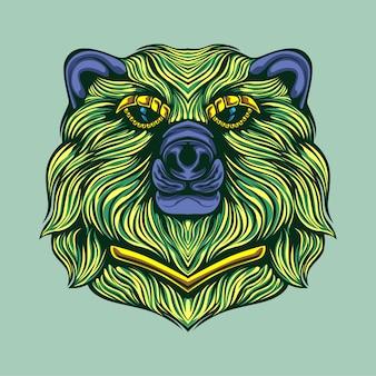 Green bear artwork illustration