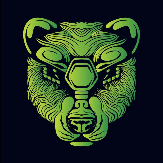 Green bear head illustration