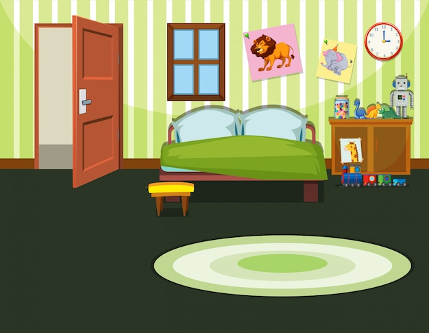 A green bedroom illustration