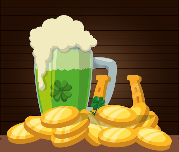 Green beer gold coins horseshoe wooden background