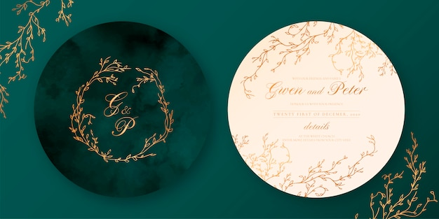 Green and beige elegant wedding invitation