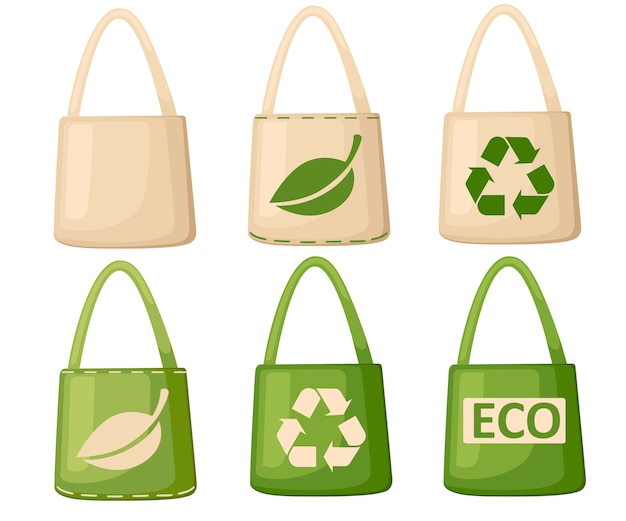 Green and beige fabric cloth or paper bag. bags with recycling, green leaf and eco symbols. replacement plastic bags. save earth ecology.   illustration  on white background