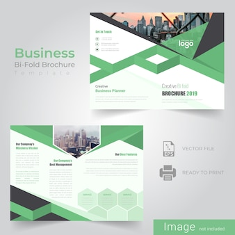 Green bi fold brochure design