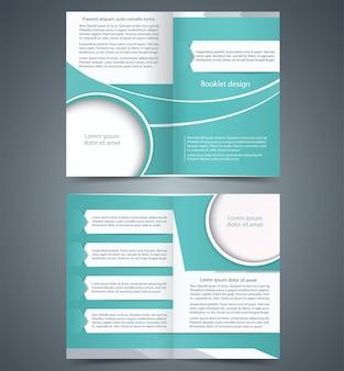 Зеленая брошюра, сложенная в два раза, дизайн шаблона бизнес-буклета