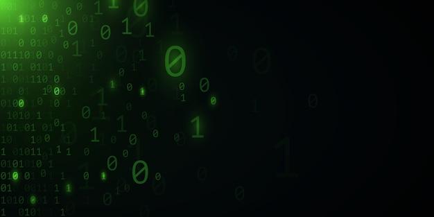 Фон зеленый двоичный код. современный дизайн в стиле хай-тек. программирование баннера. мировая сеть. программного обеспечения. шаблон высоких технологий.