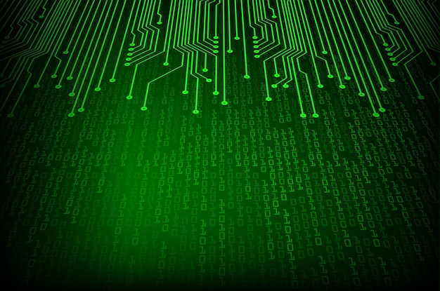Green binary cyber circuit future technology concept background
