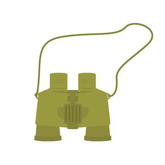 Зеленый клипарт бинокль для туристической экспедиции.
