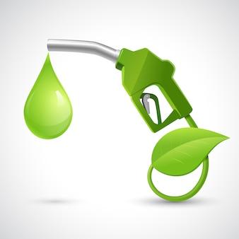 연료 노즐 잎과 드롭 자연 에너지 개념 벡터 일러스트와 함께 녹색 바이오 연료 개념