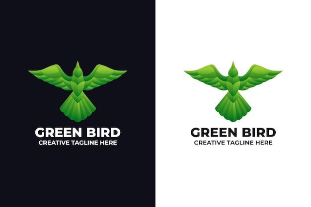 Зеленая птица логотип животных