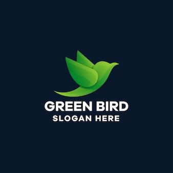 Green bird gradient logo template