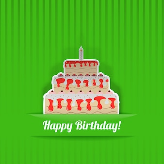 Green birthday card with cake, cut from paper