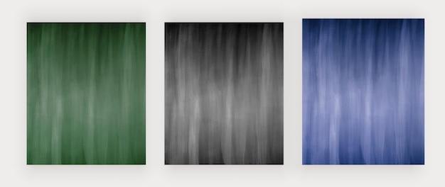 Зеленый черный и синий акварельные фоны векторный дизайн