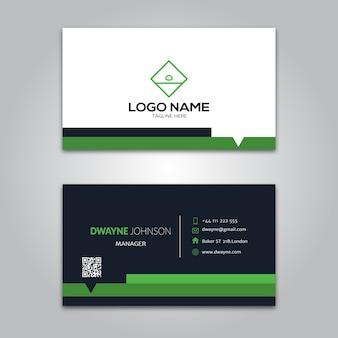 Green black business card template