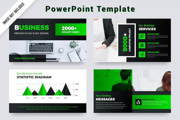 Green & black business presentation slides with photo