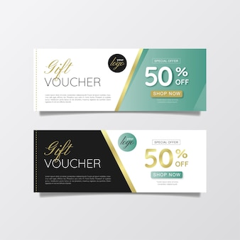 Green black and gold gift voucher template design