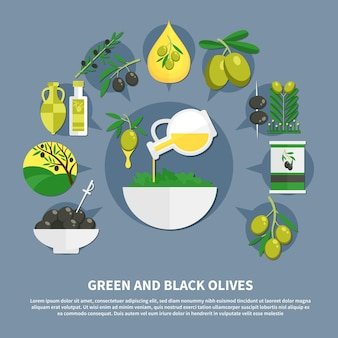 Green and black olives, canned products, oil, bowl with salad, flat composition