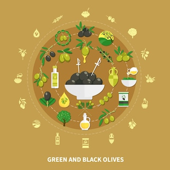Green and black olives round composition on sand background with decorations, canned food and oil illustration